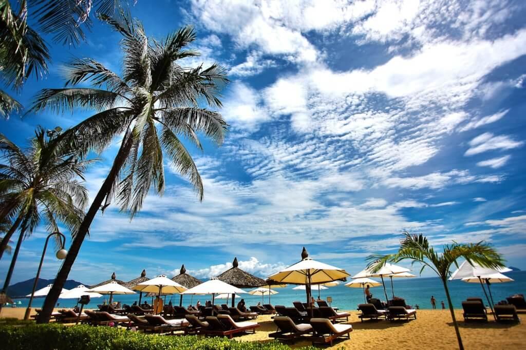 tropical resort, umbrellas