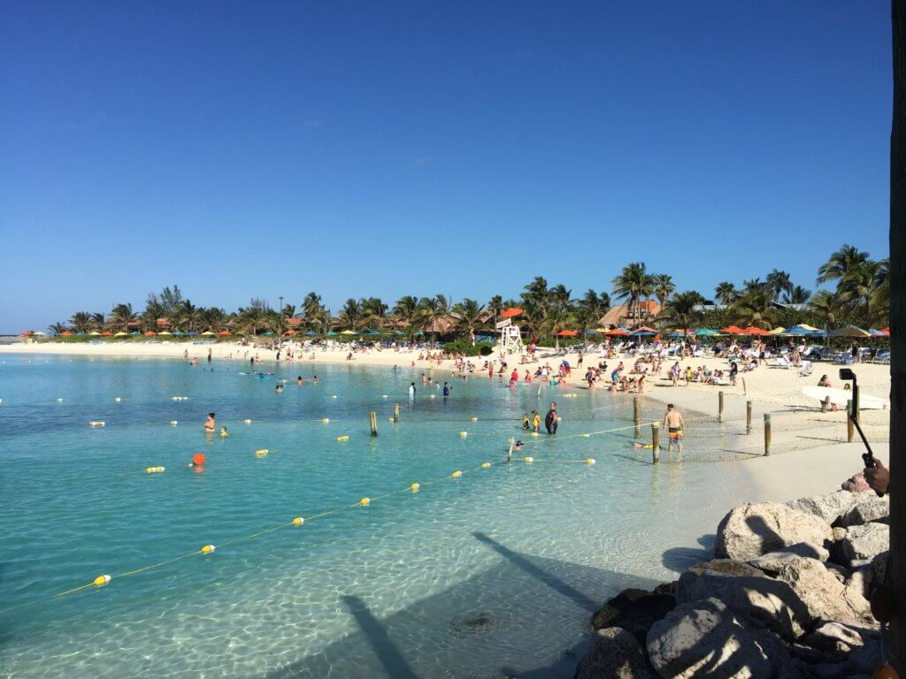 18 Top Secret Disney Fantasy Tips and Tactics  featured by top US family travel blog, Travel with a Plan: image of Castaway Cay on Disney private island