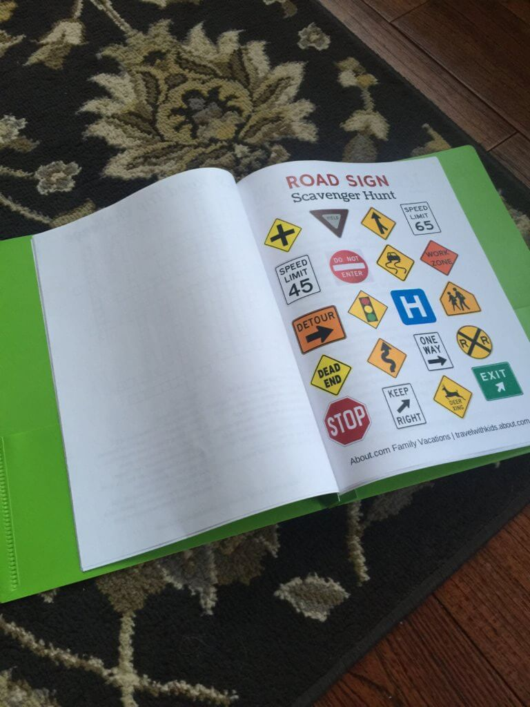 Family road trip tips featured by top US family travel blog, Travel with a Plan: image of Road trip printables folder