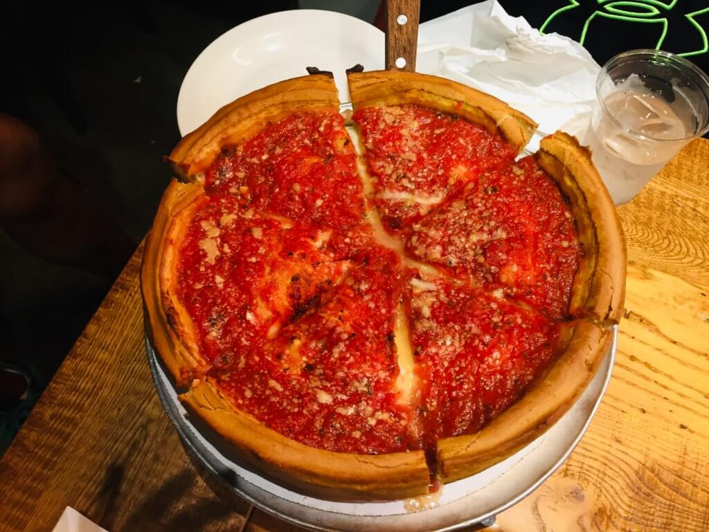Top 5 Most Kid Friendly Restaurants in Downtown Chicago featured by top US family travel blog, Travel With a Plan: image of Giordano's