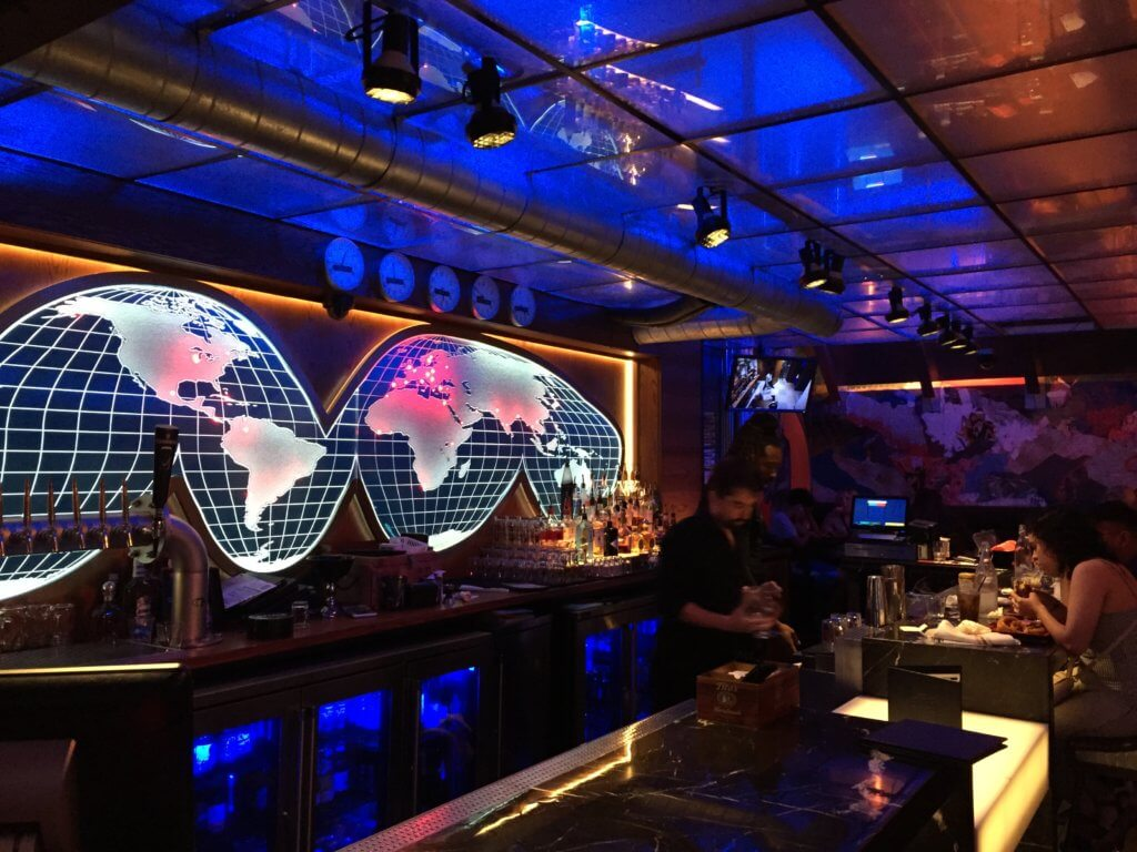 Chicago 3 day itinerary featured by top US family travel blog, Travel with a Plan: image of Safehouse bar lights