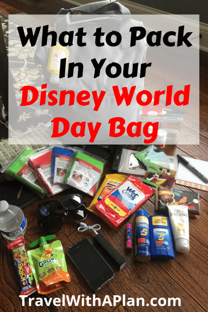 Click here for your Disney Packing Checklist to pack the perfectly stocked Disney day bag! This Disney day bag packing checklist will uncover Disney World essentials that you need to have on hand when touring the parks. Tip from top U.S. family travel blog, Travel With A Plan! #mustbringtodisneyworld #bestdaybag #Disneydaybag #Disneyparkbagchecklist #DisneyWorldessentials #Disneypackingtips #Disneyworldchecklist #themeparkdaybag #Disneyparkbag #disneyworldpackinglist #travelwithaplan #disneybag