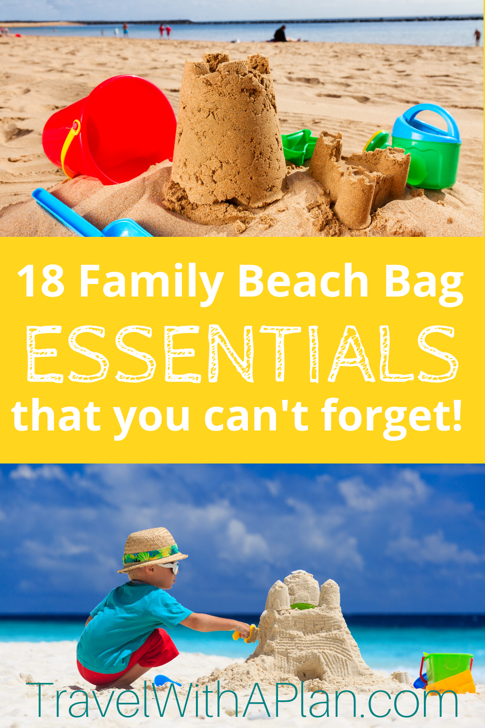 These 18 things to bring to the beach are absolute essentials for a trip to the beach or pool!  We never travel to the beach without a beach bag complete with the following items!  Get all of our secrets here!  #thingstobringtothebeach #beachbagessentials #thingstobringtothebeachforkids #familybeachbagessentials #whattopackforthebeach #familybeachvacation