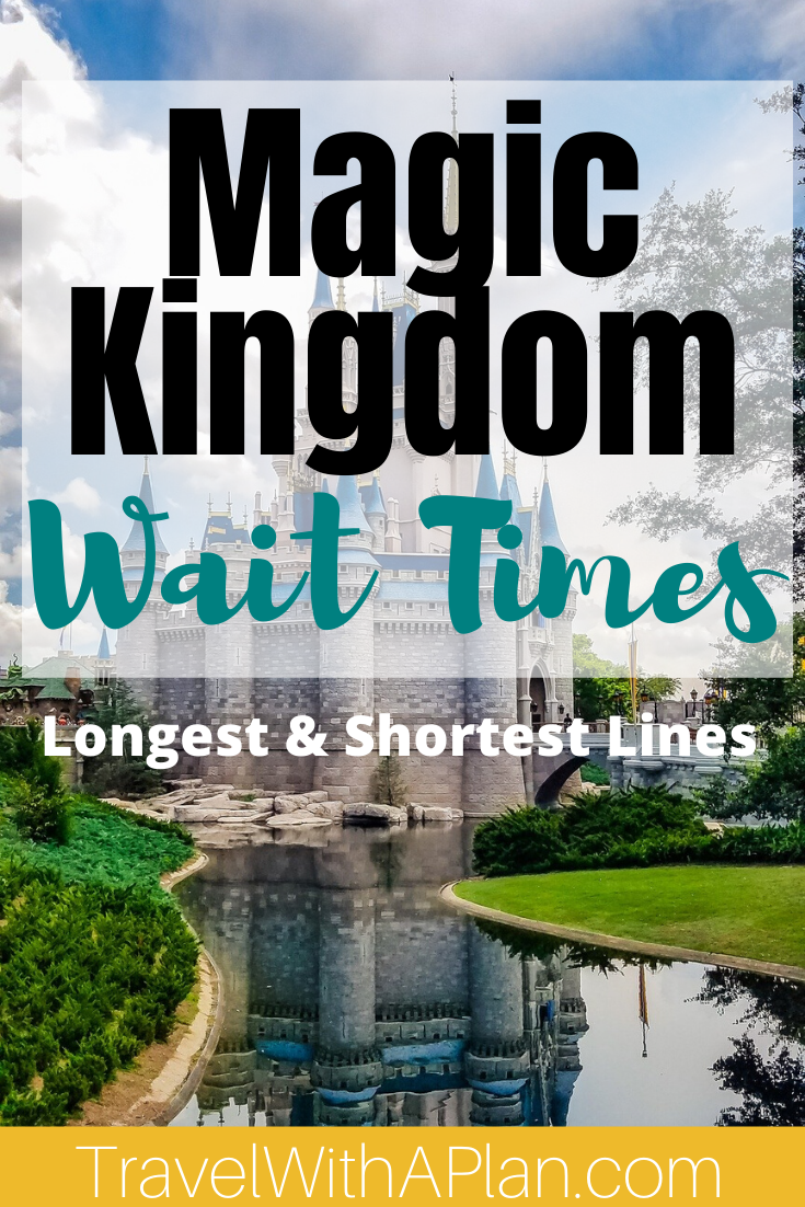 Magic Kingdom wait times make a huge impact on tour touring plan!  Learn all about the exact amount of time to expect when waiting in line for Magic Kingdom's most popular rides.  We feature 6 rides with the shortest lines, and 6 ride with the longest lines at Magic Kingdom!  #Disneywaittimes #MagicKingdomwaittimes #longestwaittimesatmagickingdom #shortestlinesatmagickingdom #Disneyridewaittimes