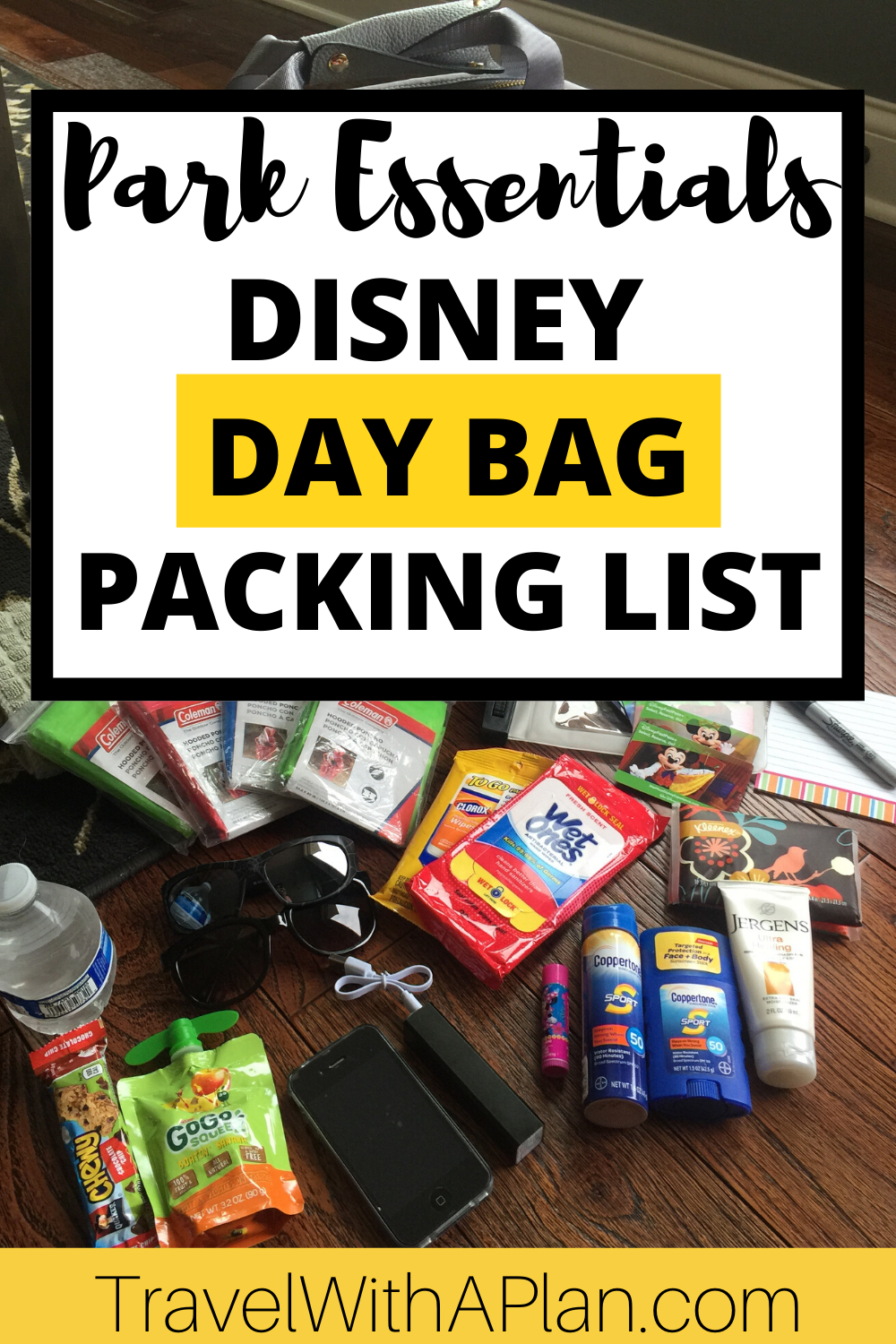 Get our complete list of Disney World essentials that NEED to go in your Disney park bag!  Complete with a Disney Day Bag Printable Checklist, we'll make sure you don't forget anything needed for a long day of touring Disney!  #Disneydaybag #Disneydaybagpackinglist #Disneydaybagchecklist #Disneydaybaglist #Disneydaybagbackpacks #Disneydaybagforkids #DisneyWorlddaybag