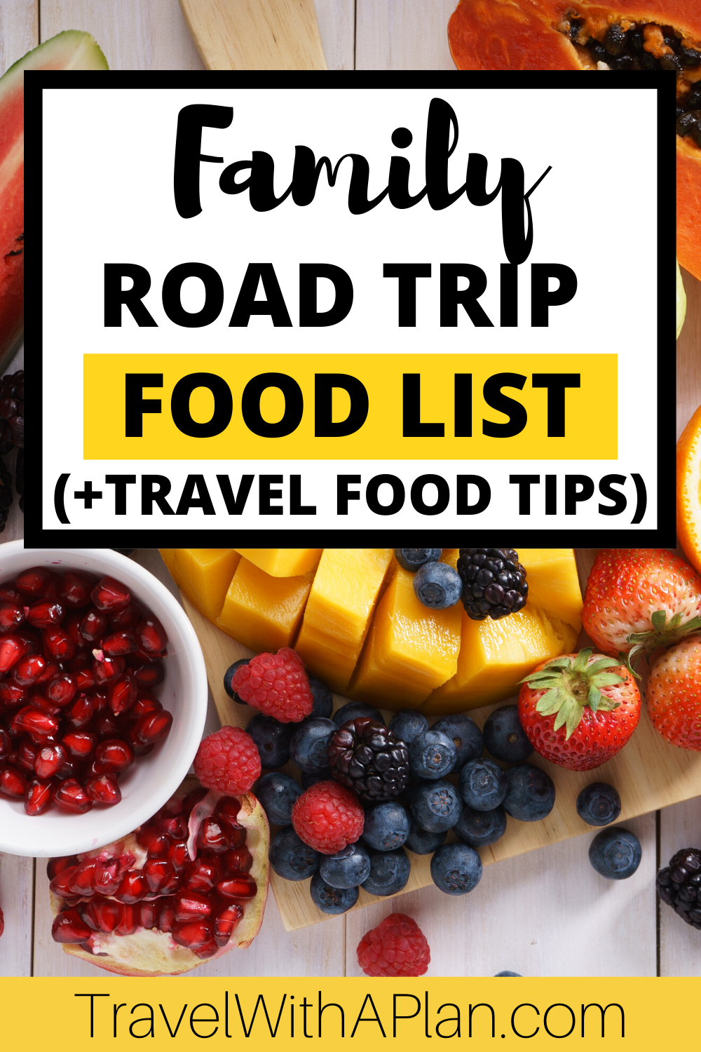 Road tripping is one of our favorite family vacations!  Get our awesome road trip food list that includes ideas for meals and snacks on-the-go and a printable checklist to take to the grocery store!  #roadtripfoodlist #bestroadtripfoods #roadtripsnackideas #toddlerroadtripsnacks #healthyroadtripsnacks #roadtripmeals