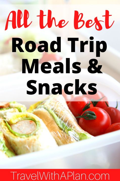 Road tripping is one of our favorite family vacations!  Get our awesome road trip food list that includes ideas for meals and snacks on-the-go and a printable checklist to take to the grocery store!  #roadtripfoodlist #bestroadtripfoods #roadtripsnackideas #toddlerroadtripsnacks #healthyroadtripsnacks #roadtripfood