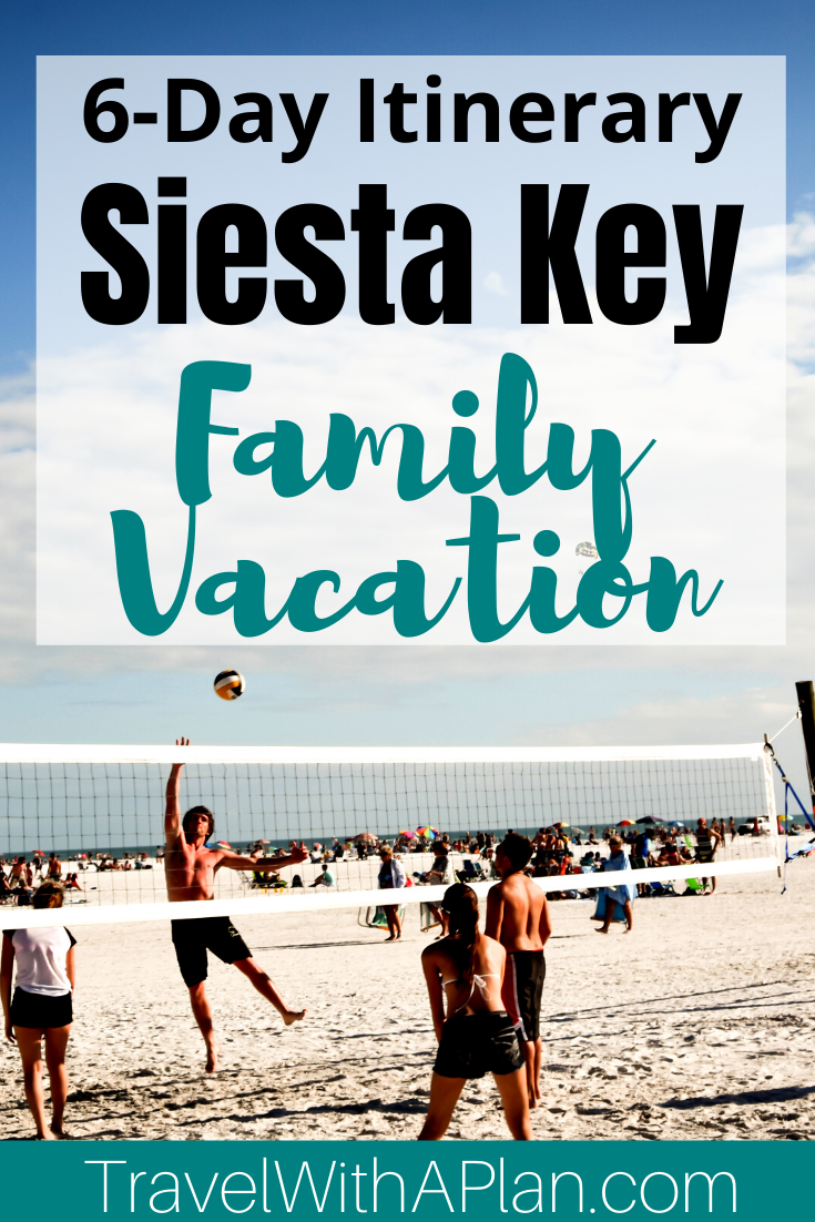 Read this article to get a detailed day-to-day itinerary for a Siesta Key family vacation!  Find out where to stay, where to eat, what to do, and how to get around during your Siesta Key getaway from top U.S. family travel blog, Travel With A Plan!  #floridatravel #whattodoinflorida #siestakeyfamilyvacation #siestakeybeachvacation #siestakeyfloridawithkids