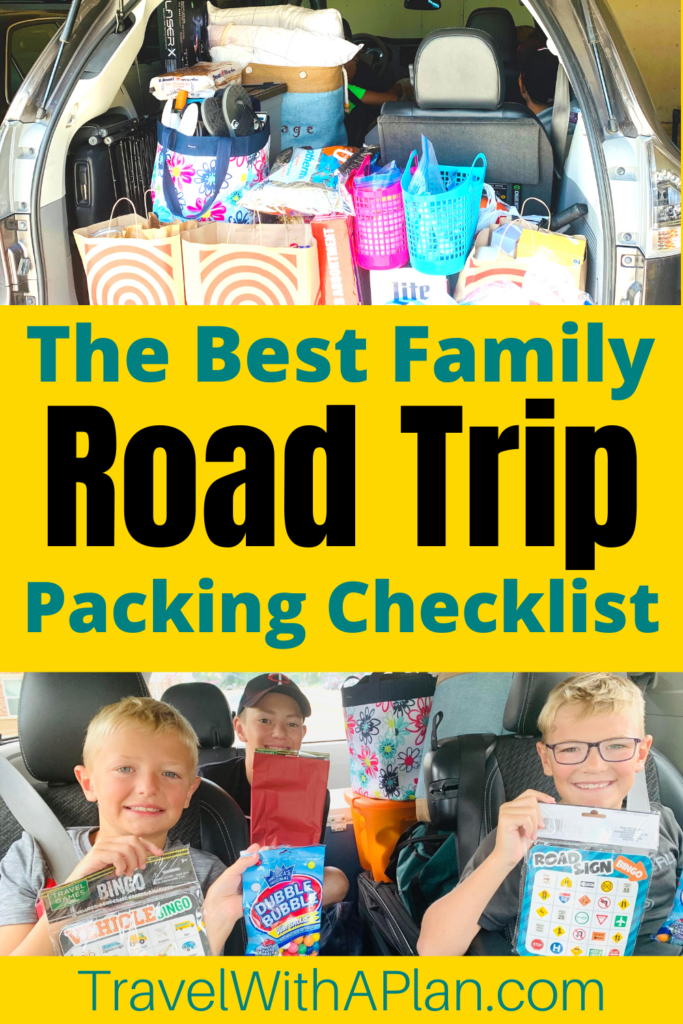 This road trip checklist is both FREE and printable, as well as ensures that you will not forget anything on your upcoming family road trip!  As road trip experts, here is our list of absolutely everything that you need to remember before you hit the road!  Road trip printable checklist | Road trip checklist | Family road trip tips | Road trip reminders | Road trip essentials | Things to bring on a road trip | Family travel | #travelwithaplan #roadtriplist #roadtrippackinglist #roadtrippackingideas