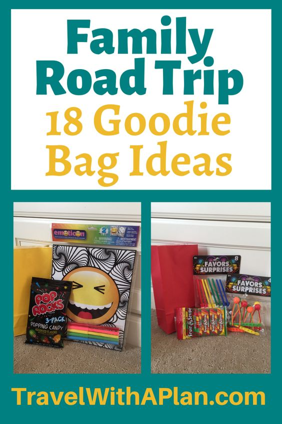 Fight boredom on a family road trip with these Road Trip Goodie Bags!  Assemble these quick, easy, and inexpensive Goodie Bags for the perfect family road trip activity to have fun on a family road trip!  Family Travel | Road Trip Travel Bags | Road Trip Goodies | Road Trip Goodie Bag Ideas | Road Trip Goodie Bags for Kids #travelwithaplan #funroadtripideas #roadtriptreatbags #roadtriptreats