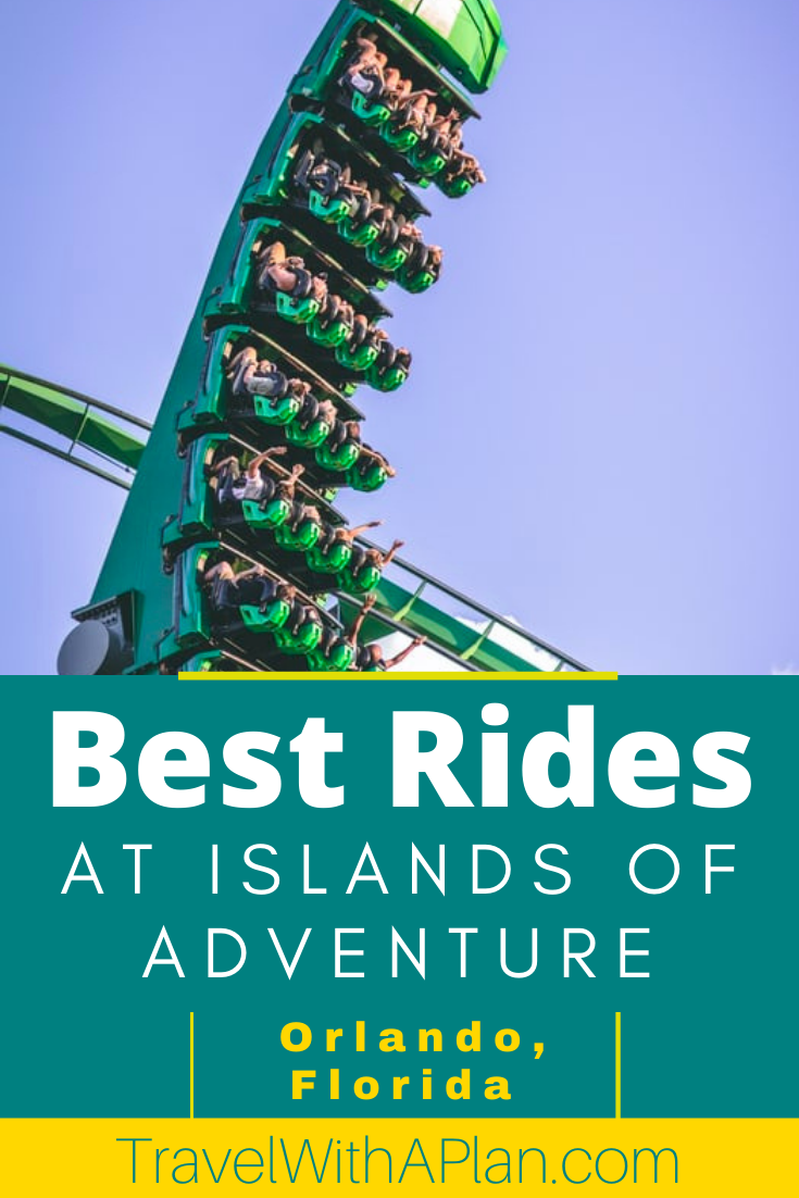 Find out the 7 Best Rides at Islands of Adventure!  This epic theme park located in Orlando, Florida is part of Universal Studios and includes some of the top theme park rides in the nation!  Don't miss these rides!  #Orlando #universalstudios #themeparks #bestrollercoasters #Florida #familyvacation #familytravel #thrillrides #islandsofadventure