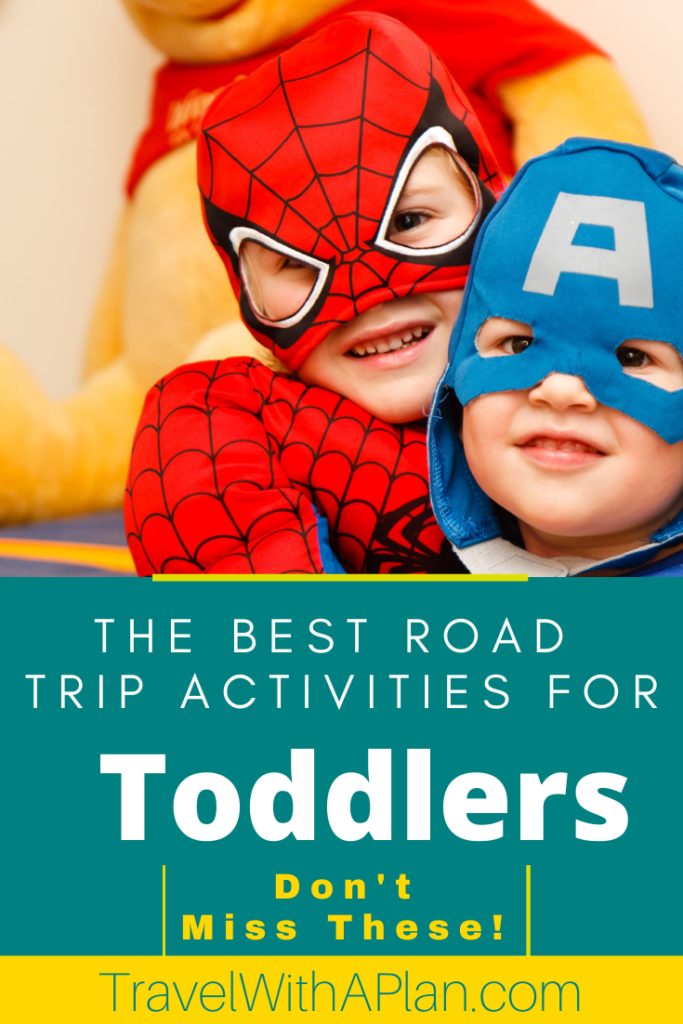 Want to keep your toddler content and happy during car rides?  Click here to find out best suggestions on road trip activities for toddlers!  These activities will wow you!  #roadtrip #toddlers #tipsfortravelingwithkids #roadtripactivities #toddleractivities #familyroadtrip #familytravel #roadtripgames