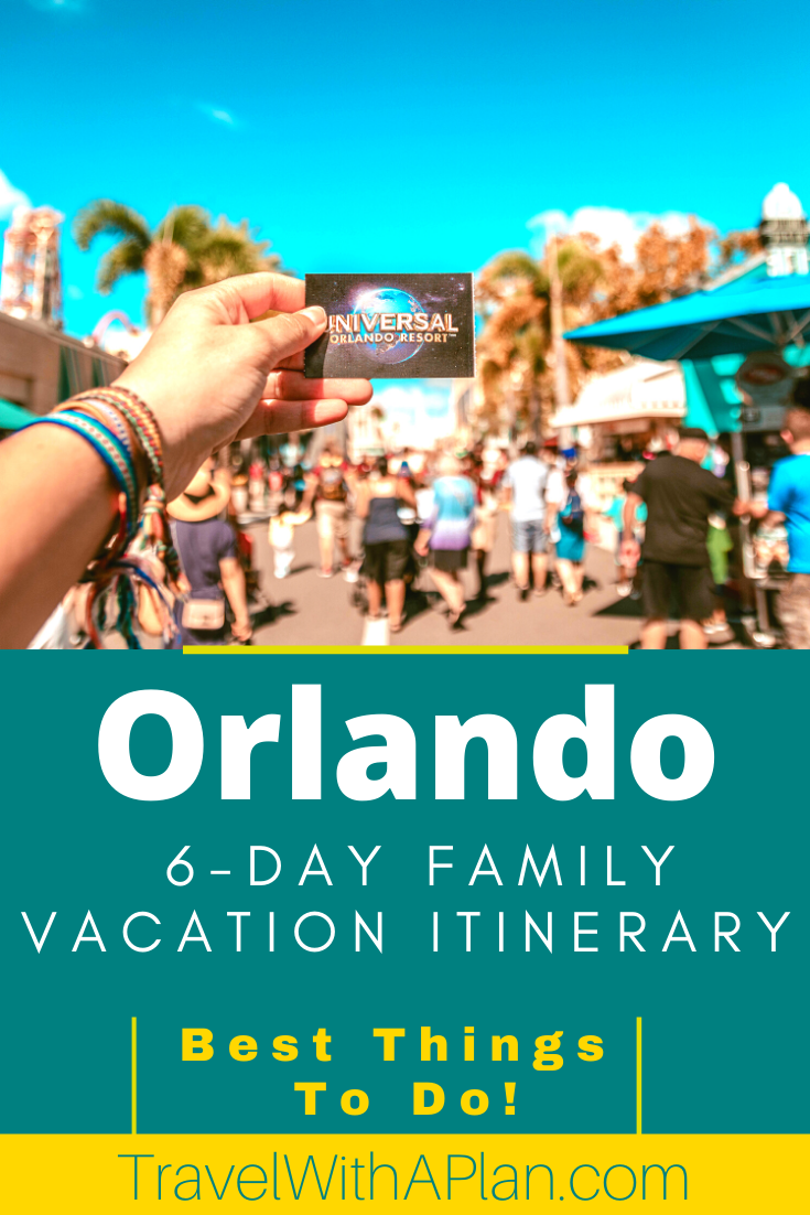With so many things to to in Orlando, it helps to travel there with a plan!  Get our FREE 6-day Orlando vacation itinerary that includes theme parks, beaches, fun restaurants, and area attractions.  Don't miss this Orlando guide!  #Orlando #Florida #familytravel #Familyvacationitinerary #thingstodoinOrlando #Disney #UniversalStudios #DaytonaBeach