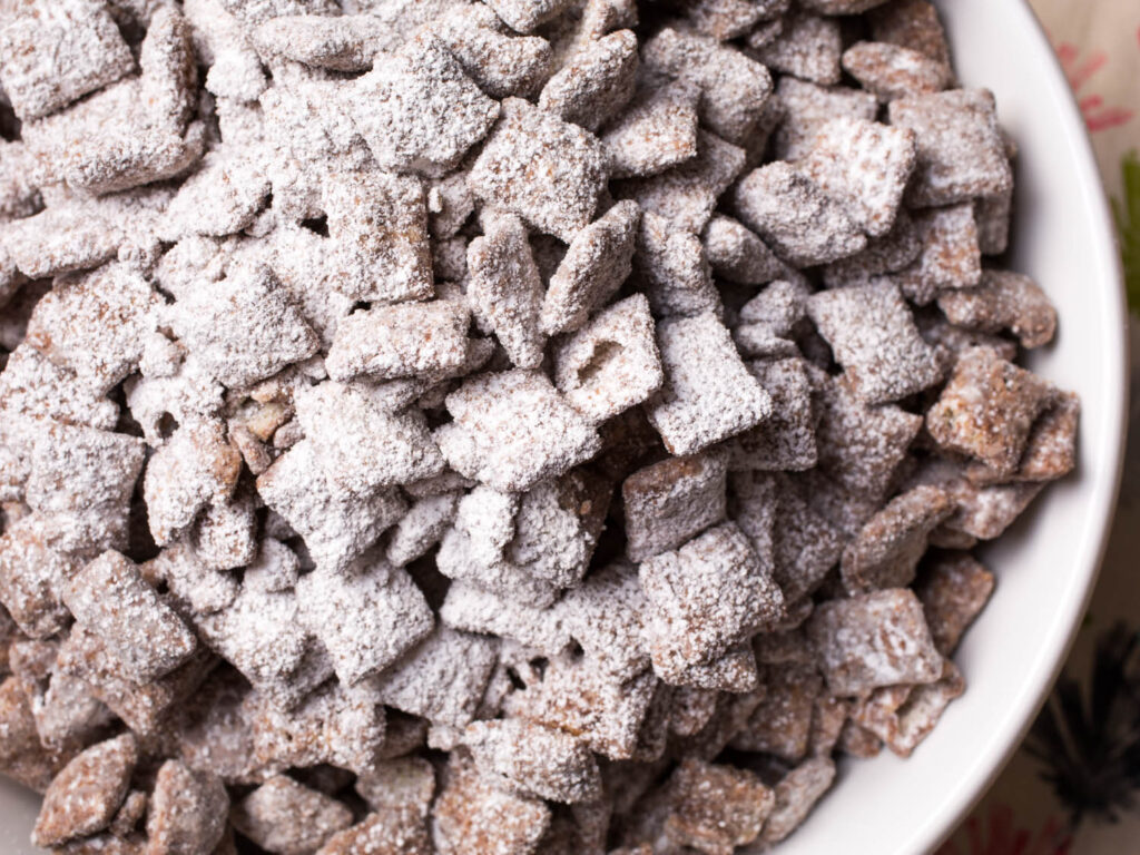 Puppy Chow Snack Mix:  recipe from Top U.S. family travel blog, Travel With A Plan