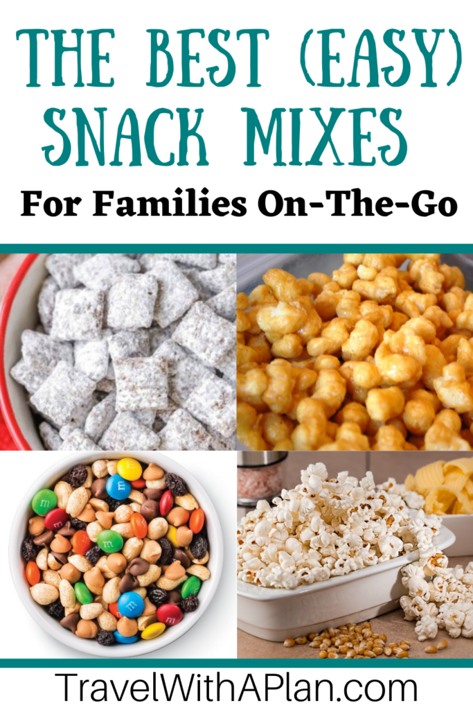 If you're road tripping, hiking, camping, or just plain on-the-go, check out these delicious and easy snack mix recipes!  Our favorite snack mixes are all affordable and appealing to both kids and adults.  Get the recipes here!  #snackmixrecipes #familyrecipes #kidfriendlysnacks #trailmixrecipes #monstermix #roadtripfoods #healthysnacks