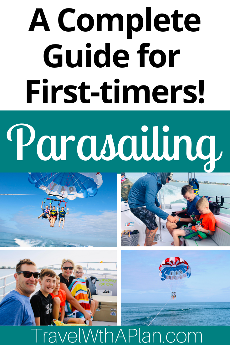 """Learn all about Siesta Key parasailing (and find out, """"Is Parasailing Scary?"""") from Top U.S. Family Travel Blog, Travel With A Plan."""