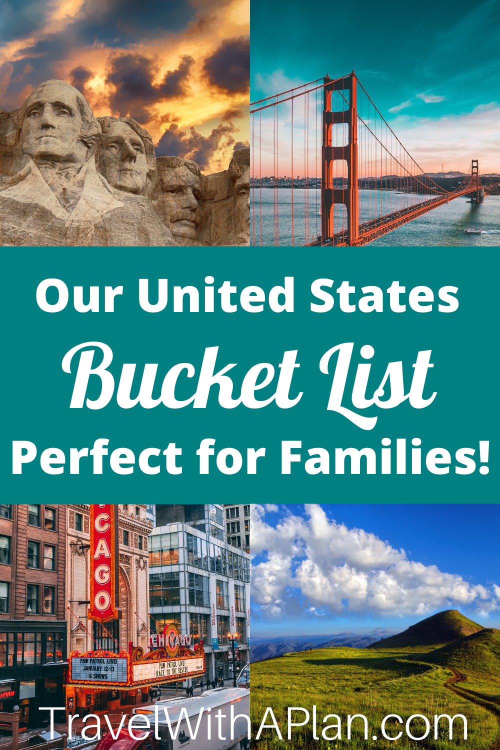 A fun and detailed United States bucket list from Top U.S. Family Blog, Travel With A Plan.
