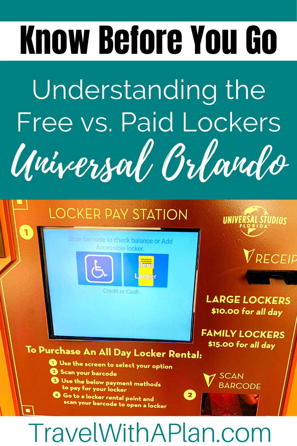 Learn all about the lockers at Universal Orlando from Top U.S. Family Travel Blog, Travel With A Plan!  Click here now!