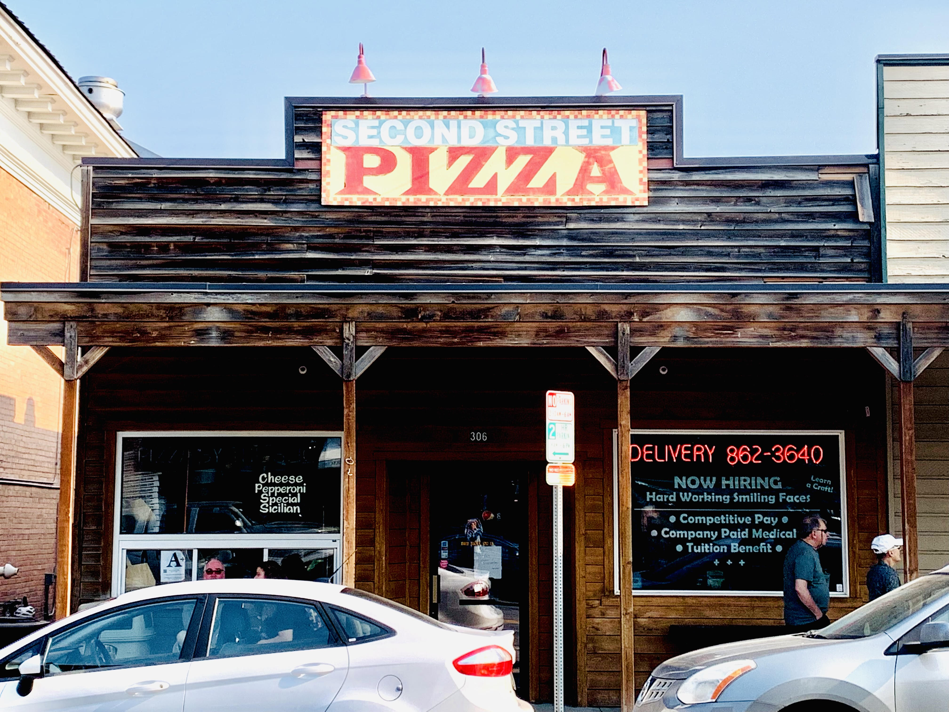 Second Street Pizza store front (Featured as one of the best restaurants in Whitefish, Montana by top US family travel blog, Travel With A Plan!)