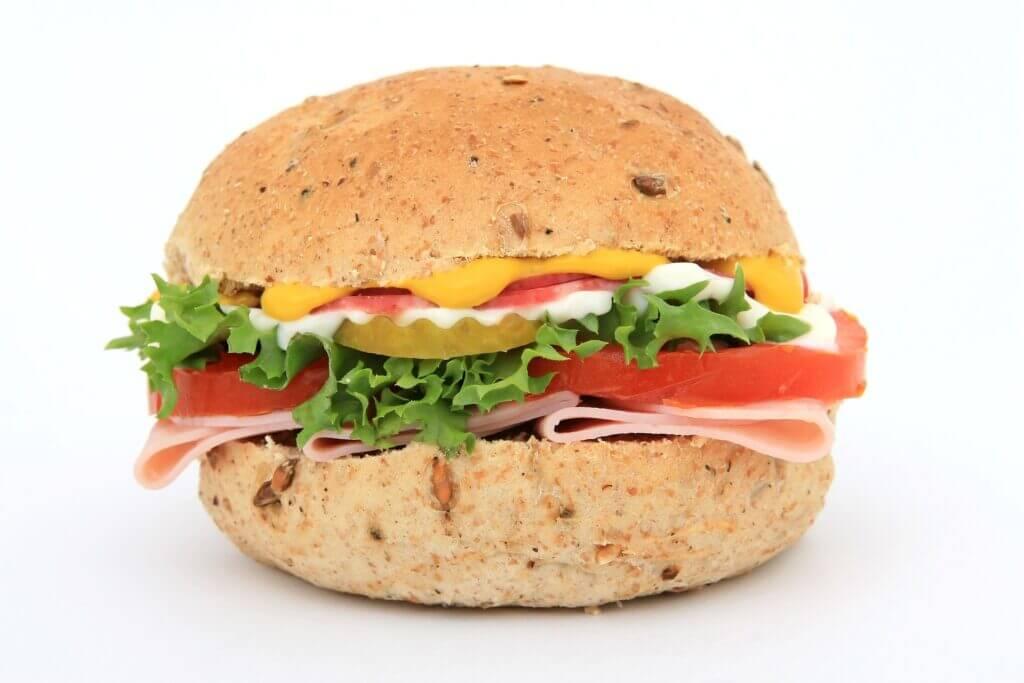 Road trip food, colorful sandwich